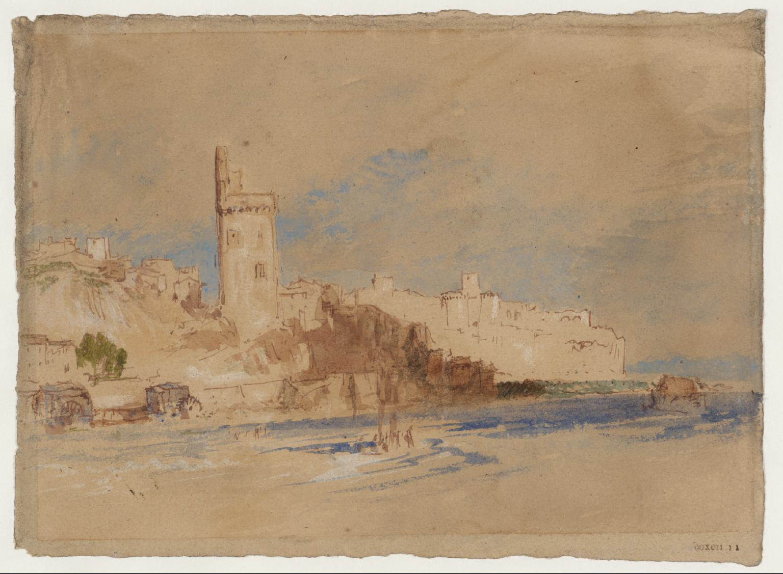 Waterside Buildings, ? South of France or Italy c.1834 Joseph Mallord William Turner 1775-1851, Gouache, encre and aquarelle sur papier bistre, 143 x 193 mm. ©Tate Gallery, Londres, D 28958 TB CCXCII 11©Tate photo Legs Turner Accepted by the nation as part of the Turner Bequest 1856, http://www.tate.org.uk/art/work/D28958
