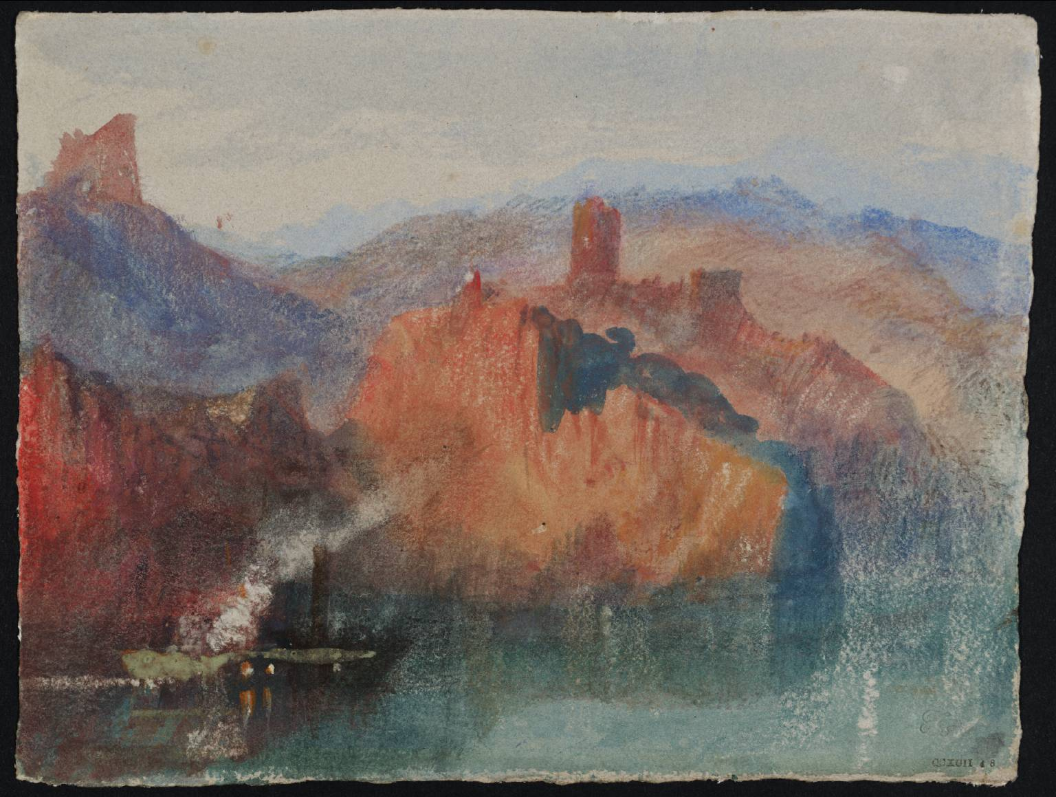 Fig. 1 : Lake Scene, with Mountains, circa 1834 Joseph Mallord William Turner 1775-1851. Accepted by the nation as part of the Turner Bequest 1856, Gouache and watercolour on paper,140 x 185 mm © Tate gallery London, Photo © Tate CC-BY-NC-ND 3.0 (Unported). http://www.tate.org.uk/art/work/D28996