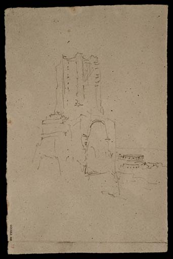Fig. 9 : Turner, la Tour Magne, Nîmes, CCCXLI 313 / Ruined Tower, circa 1830-41, Joseph Mallord William Turner 1775-1851 Accepted by the nation as part of the Turner Bequest 1856 http://www.tate.org.uk/art/work/D34032