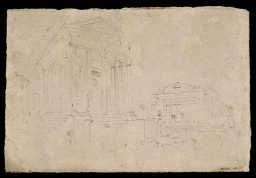 Fig. 8 : Turner, la Maison Carrée, Nîmes, CCCXLI 322, D34041 / Two Roman Temples, circa 1830-41, Joseph Mallord William Turner 1775-1851
