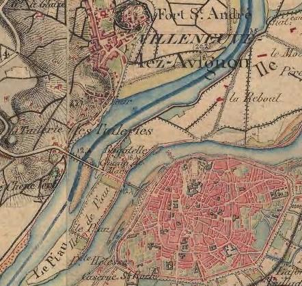 Fig 3 : Extrait de la carte de l'Etat-Major au 1/40.000 Avignon (1856). Pour l'aquarelle de la figure 1, Turner s'est situé sur la rive ouest de l'île de la Barthelasse, en face de la Tour du pont. Point et angle de vue du peintre en rouge sur la carte.<br /> Source : © IGN France 2018 (« remonterletemps ») license ouverte version 2.0 Etalab