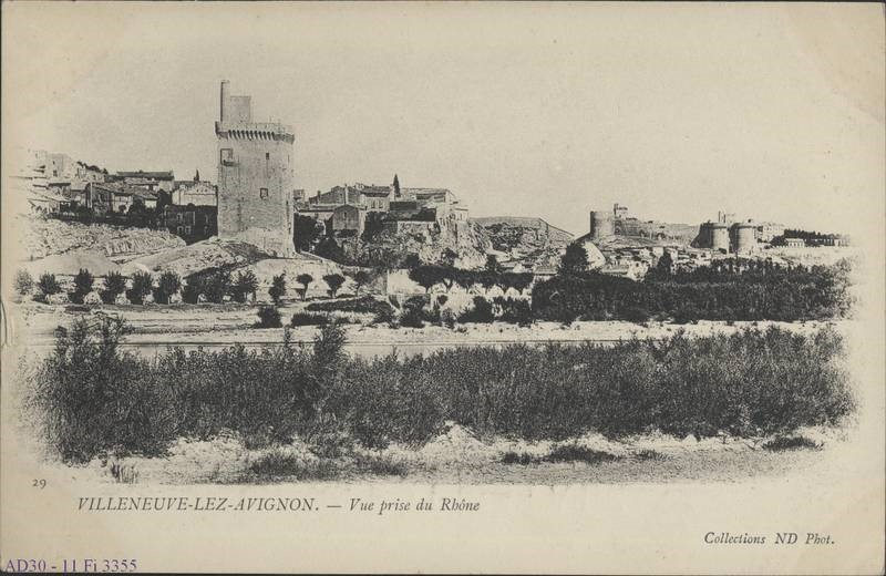 Carte postale ancienne de Villeneuve-lez-Avignon prise selon un point de vue et une orientation très proches de ceux de William Turner