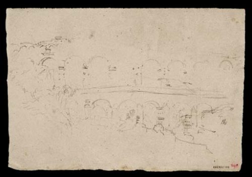 Fig.7 : William Turner, Le Pont du Gard, vue de face depuis l'aval de la rive droite du Gardon, crayon sur papier, 153 x 222 mm Tate, Ruined Arches, 1830-1841, D34008 , Turner Bequest CCCXLI 290, Creative Commons CC-BY-NC-ND (3.0 Unported). http://www.tate.org.uk/art/artworks/turner-ruined-arches-of-aqueduct-d34008