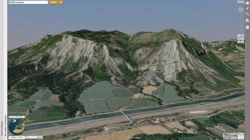 Terminaison orientale du synclinal perché de Barcillonnette (04) au nord de Ventavon, vue oblique aérienne 3D du Géoportail IGN-France capture d'écran 2018-07-23