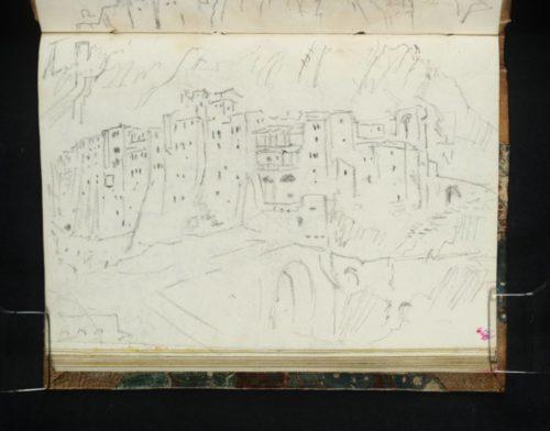 Associé à l'imageD29573 pour constituer un Croquis par Turner de la ville et de la forteresse de Sisteron depuis le pont sur la Durance dans la clue