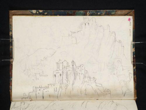 Forteresse de Sisteron, partie supérieure du dessin de la page D29572 Turner, carnet CCXCV