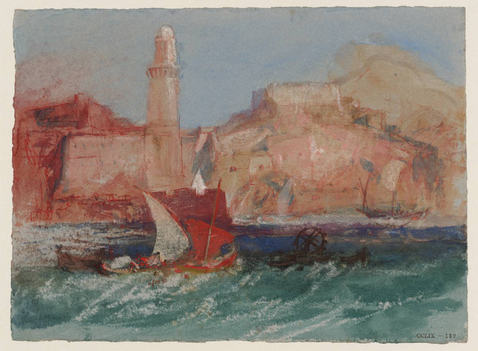 The Lighthouse at Marseilles from the Sea circa 1828 Joseph Mallord William Turner 1775-1851 Accepted by the nation as part of the Turner Bequest 1856 http://www.tate.org.uk/art/work/D24704