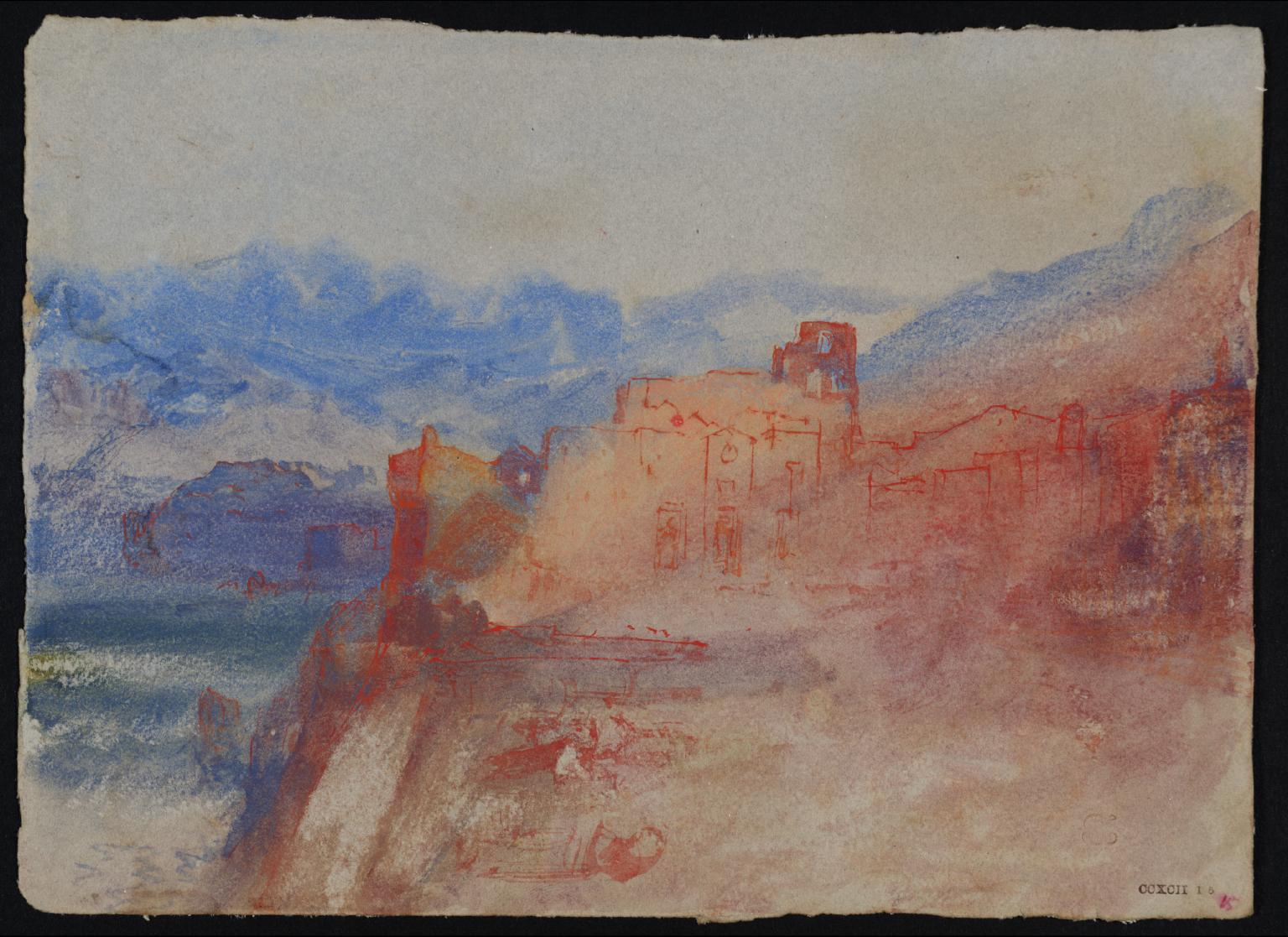 Waterside Buildings and Mountains, ?South of France or Italy c.1834 Joseph Mallord William Turner 1775-1851 Accepted by the nation as part of the Turner Bequest 1856 http://www.tate.org.uk/art/work/D28962