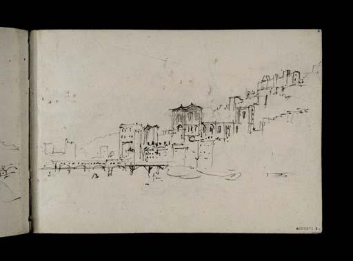 D21767: Lyon: la ville ancienne sur la rive droite de la Saône, vue depuis le pont du change: La cathédrale Saint-Jean, la passerelle en bois et le pont