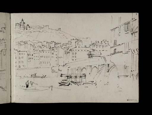 D21769:Lyon: le pont au Change sur la Saône entre la Presqu'île et la ville ancienne, celle-ci dominée par la colline de Fourvière. La vue est prise depuis la rive gauche de la rivière, à l'aval du pont