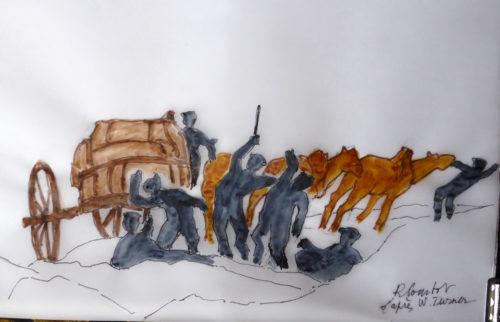 """Croquis schématique RCourtot d'un détail de """"Temp-ete de neige, Mont-Cenis"""" par William Turner: l'les muletiers d'une hcarrette attaqués par des brigands"""