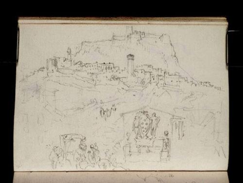 Titre proposé: Radicofani: la fontaine du relais de poste médicéen et une voiture attelée, le bourg et la forteresse des Aldobrandi au second plan.
