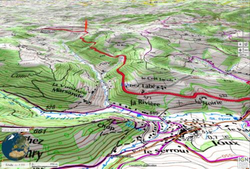 Lieu de l'accident de la diligence deTurner en 1829, route Lyon-Paris Montagne de Tarare (Source: Géoportail-IGN-France)