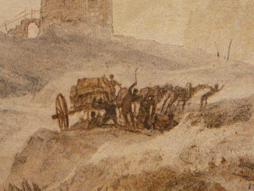 William Turner: Tempête de neige: Traversée du Mont Cenis. Cat.31 In Turner en France, Maurice Guillaud, 1981, p.119, Fig.213 Détail de la charrette et des muletiers attaqués par des brigands ©Birmingham City Museum and Art Gallery 409-53