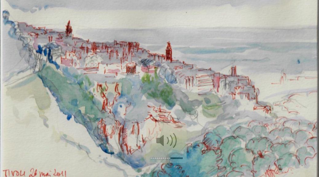 Tivoli: panorama de la ville, perchée au dessus de la gorge de l'Aniene, vue depuis l'ouest, sur les pas de William Turner (aquarelle RCourtot, 2011)