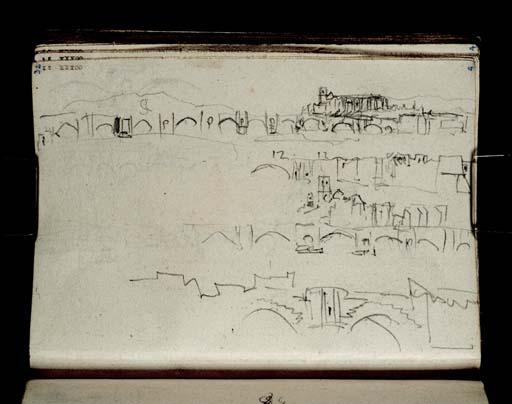 William Turner (1828) : Le Pont-Saint-Esprit; la cathédrale et le pont sur le Rhône vus depuis l'amont du fleuve (croquis en série depuis un bateau de plus en plus proche)Tate D21052 CCXXX-32
