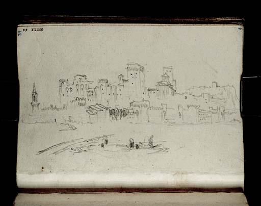 Avignon 1828 WilliamTurner: le palais des Papes, la ville et le Rhône (vue vers l'Est depuis le fleuve) Tate Londres D21066 TBCCXXX-39