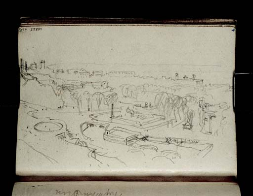 Nîmes, les jardins de la Fontaine (vus de la Tour Magne) 1828 William Turner, D21082 CCXXX-47 Tate gallery, Londres