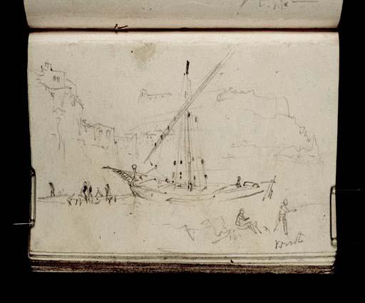 Bateau à voile (Felouque) dans le port de Marseille, avec personnages, William Turner D21097 CCXXX-54a, Tate gallery, Londres
