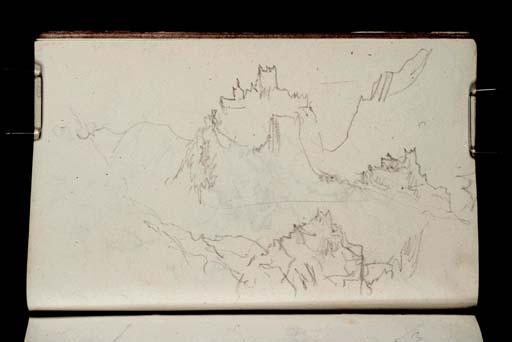 Eze, près de Monaco: 3 vues du village perché, en s'éloignant sur la route de Menton, 1828 environ, William TurnerD21164 CCXXXI-16a