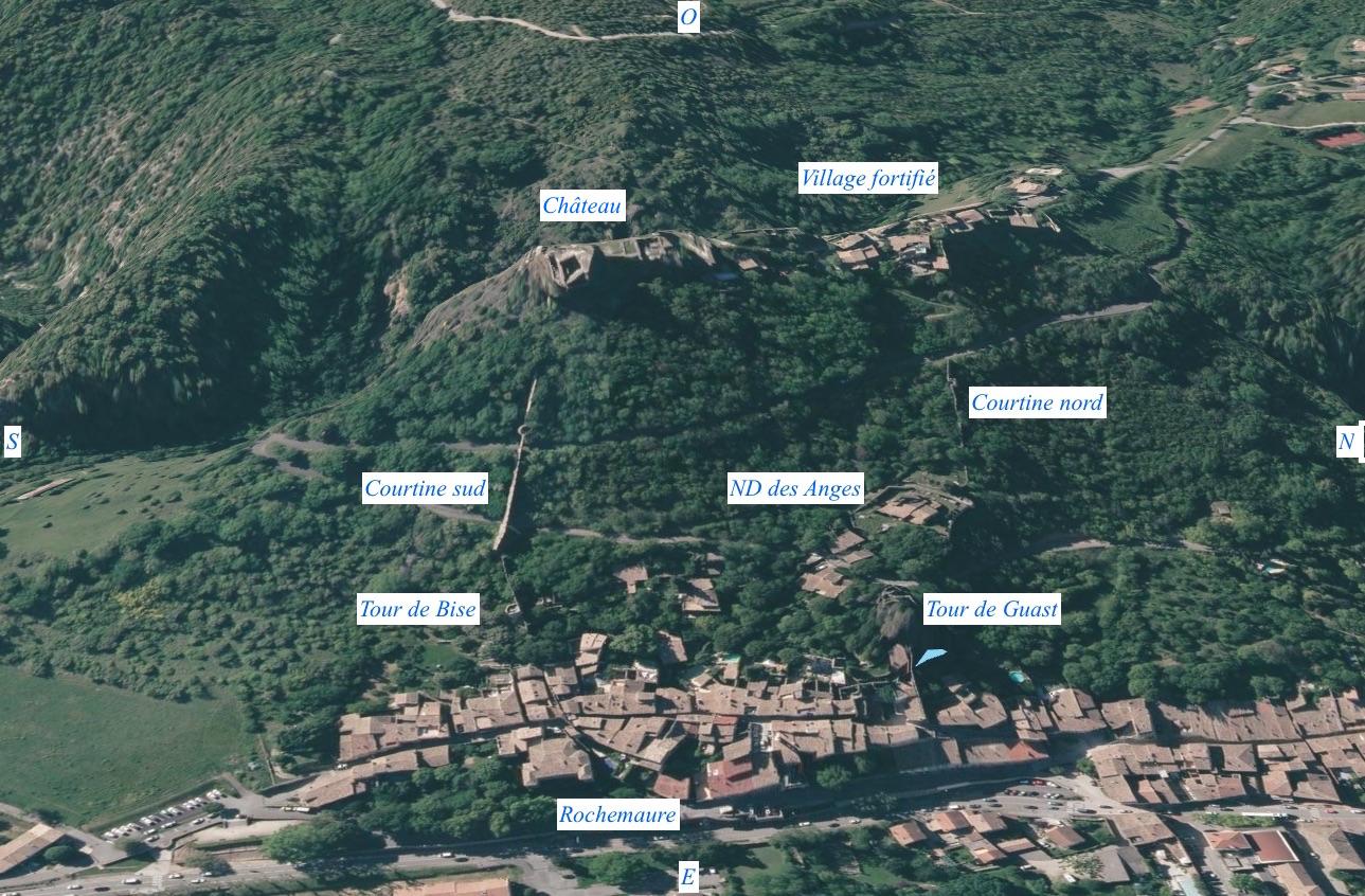 Rochemaure: l'ensemble fortifié et le village IGN Geoportail Capture d'écran 2020-03-24 RCourtot