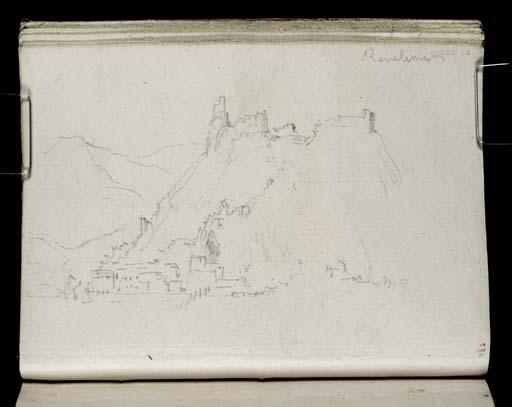 William Turner : Rochemaure, la ville au bord du Rhône et le château sur la crête vus depuis le fleuve
