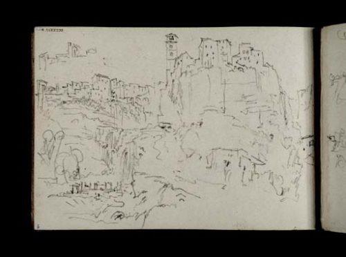 William Turner (1828): Ronciglione, la ville historique et le Dôme vus de l'aval du ravin du rio Vicano , tate gallery D21781 http://www.tate.org.uk/art/work/D21781