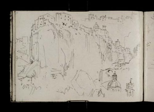 William Turner (1828): Ronciglione , la ville historique perchée à la confluence des ravins, l'église Sainte-Marie-de-la-Providence à gauche,le Dôme à droite, Tate Gallery, D21782 CCXXXVI-