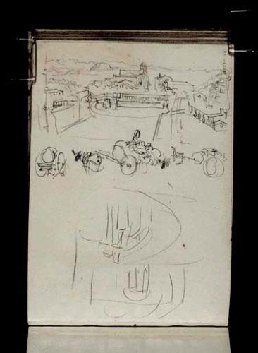 William Turner (1828): la terrasse du Palais Farnese à Caprarola et l'esquisse de l'escalier intérieur circulaire de Vignola, Tate gallery, Londres, D21841 CCXXXVI 43a