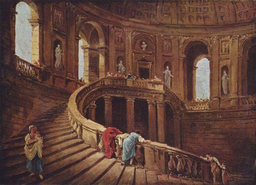 Ce tableau identifie l'esquisse de l'escalier circulaire du palais Farnese à Caprarola sur la page 43a du carnet CCXXXVI de William Turner